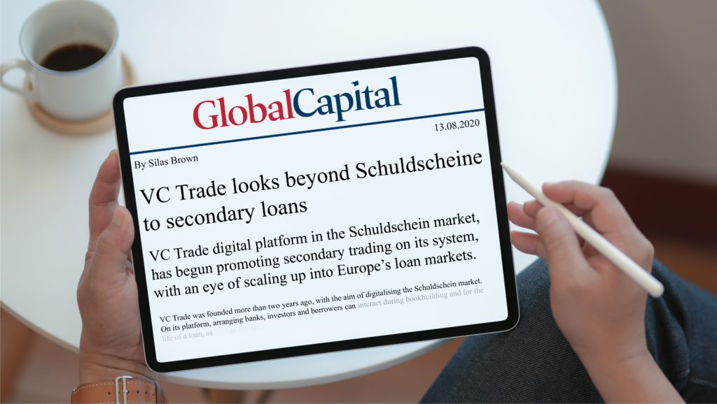 vc trade looks beyond Schuldschein market. A Global Capital news article displayed on a tablet.